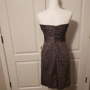 H&M Dresses - Gray with black polka dot strapless dress. Size 8
